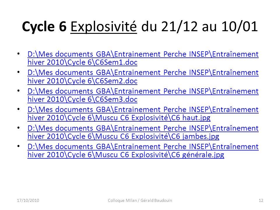 Cycle 6 Explosivité du 21/12 au 10/01 D:\Mes documents GBA\Entrainement Perche INSEP\Entraînement hiver 2010\Cycle 6\C6Sem1.doc D:\Mes documents GBA\Entrainement Perche INSEP\Entraînement hiver 2010\Cycle 6\C6Sem1.doc D:\Mes documents GBA\Entrainement Perche INSEP\Entraînement hiver 2010\Cycle 6\C6Sem2.doc D:\Mes documents GBA\Entrainement Perche INSEP\Entraînement hiver 2010\Cycle 6\C6Sem2.doc D:\Mes documents GBA\Entrainement Perche INSEP\Entraînement hiver 2010\Cycle 6\C6Sem3.doc D:\Mes documents GBA\Entrainement Perche INSEP\Entraînement hiver 2010\Cycle 6\C6Sem3.doc D:\Mes documents GBA\Entrainement Perche INSEP\Entraînement hiver 2010\Cycle 6\Muscu C6 Explosivité\C6 haut.jpg D:\Mes documents GBA\Entrainement Perche INSEP\Entraînement hiver 2010\Cycle 6\Muscu C6 Explosivité\C6 haut.jpg D:\Mes documents GBA\Entrainement Perche INSEP\Entraînement hiver 2010\Cycle 6\Muscu C6 Explosivité\C6 jambes.jpg D:\Mes documents GBA\Entrainement Perche INSEP\Entraînement hiver 2010\Cycle 6\Muscu C6 Explosivité\C6 jambes.jpg D:\Mes documents GBA\Entrainement Perche INSEP\Entraînement hiver 2010\Cycle 6\Muscu C6 Explosivité\C6 générale.jpg D:\Mes documents GBA\Entrainement Perche INSEP\Entraînement hiver 2010\Cycle 6\Muscu C6 Explosivité\C6 générale.jpg 17/10/2010Colloque Milan / Gérald Baudouin12