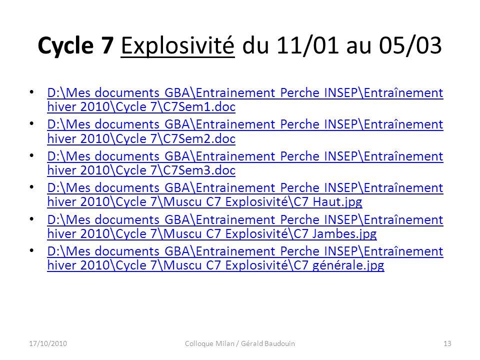 Cycle 7 Explosivité du 11/01 au 05/03 D:\Mes documents GBA\Entrainement Perche INSEP\Entraînement hiver 2010\Cycle 7\C7Sem1.doc D:\Mes documents GBA\Entrainement Perche INSEP\Entraînement hiver 2010\Cycle 7\C7Sem1.doc D:\Mes documents GBA\Entrainement Perche INSEP\Entraînement hiver 2010\Cycle 7\C7Sem2.doc D:\Mes documents GBA\Entrainement Perche INSEP\Entraînement hiver 2010\Cycle 7\C7Sem2.doc D:\Mes documents GBA\Entrainement Perche INSEP\Entraînement hiver 2010\Cycle 7\C7Sem3.doc D:\Mes documents GBA\Entrainement Perche INSEP\Entraînement hiver 2010\Cycle 7\C7Sem3.doc D:\Mes documents GBA\Entrainement Perche INSEP\Entraînement hiver 2010\Cycle 7\Muscu C7 Explosivité\C7 Haut.jpg D:\Mes documents GBA\Entrainement Perche INSEP\Entraînement hiver 2010\Cycle 7\Muscu C7 Explosivité\C7 Haut.jpg D:\Mes documents GBA\Entrainement Perche INSEP\Entraînement hiver 2010\Cycle 7\Muscu C7 Explosivité\C7 Jambes.jpg D:\Mes documents GBA\Entrainement Perche INSEP\Entraînement hiver 2010\Cycle 7\Muscu C7 Explosivité\C7 Jambes.jpg D:\Mes documents GBA\Entrainement Perche INSEP\Entraînement hiver 2010\Cycle 7\Muscu C7 Explosivité\C7 générale.jpg D:\Mes documents GBA\Entrainement Perche INSEP\Entraînement hiver 2010\Cycle 7\Muscu C7 Explosivité\C7 générale.jpg 17/10/2010Colloque Milan / Gérald Baudouin13