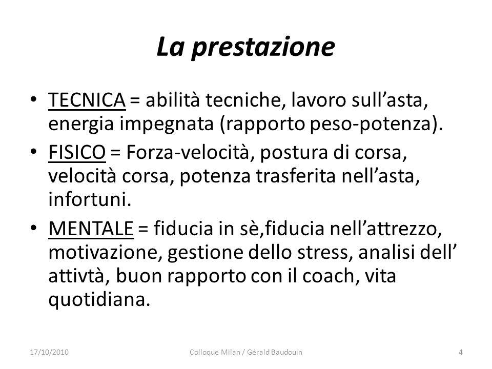 La prestazione TECNICA = abilità tecniche, lavoro sullasta, energia impegnata (rapporto peso-potenza).