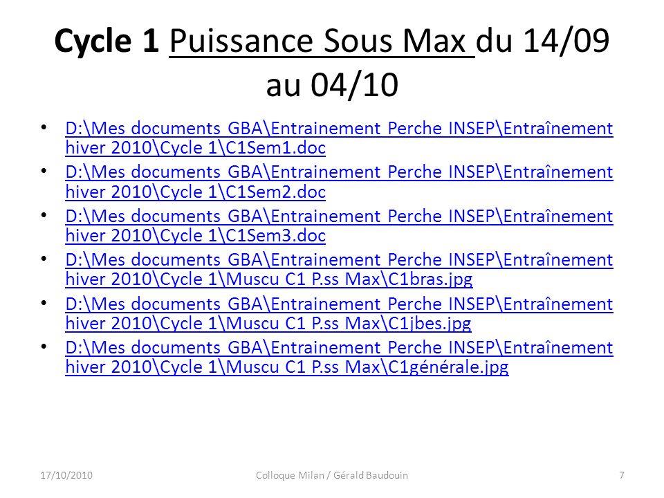 Cycle 1 Puissance Sous Max du 14/09 au 04/10 D:\Mes documents GBA\Entrainement Perche INSEP\Entraînement hiver 2010\Cycle 1\C1Sem1.doc D:\Mes documents GBA\Entrainement Perche INSEP\Entraînement hiver 2010\Cycle 1\C1Sem1.doc D:\Mes documents GBA\Entrainement Perche INSEP\Entraînement hiver 2010\Cycle 1\C1Sem2.doc D:\Mes documents GBA\Entrainement Perche INSEP\Entraînement hiver 2010\Cycle 1\C1Sem2.doc D:\Mes documents GBA\Entrainement Perche INSEP\Entraînement hiver 2010\Cycle 1\C1Sem3.doc D:\Mes documents GBA\Entrainement Perche INSEP\Entraînement hiver 2010\Cycle 1\C1Sem3.doc D:\Mes documents GBA\Entrainement Perche INSEP\Entraînement hiver 2010\Cycle 1\Muscu C1 P.ss Max\C1bras.jpg D:\Mes documents GBA\Entrainement Perche INSEP\Entraînement hiver 2010\Cycle 1\Muscu C1 P.ss Max\C1bras.jpg D:\Mes documents GBA\Entrainement Perche INSEP\Entraînement hiver 2010\Cycle 1\Muscu C1 P.ss Max\C1jbes.jpg D:\Mes documents GBA\Entrainement Perche INSEP\Entraînement hiver 2010\Cycle 1\Muscu C1 P.ss Max\C1jbes.jpg D:\Mes documents GBA\Entrainement Perche INSEP\Entraînement hiver 2010\Cycle 1\Muscu C1 P.ss Max\C1générale.jpg D:\Mes documents GBA\Entrainement Perche INSEP\Entraînement hiver 2010\Cycle 1\Muscu C1 P.ss Max\C1générale.jpg 17/10/2010Colloque Milan / Gérald Baudouin7