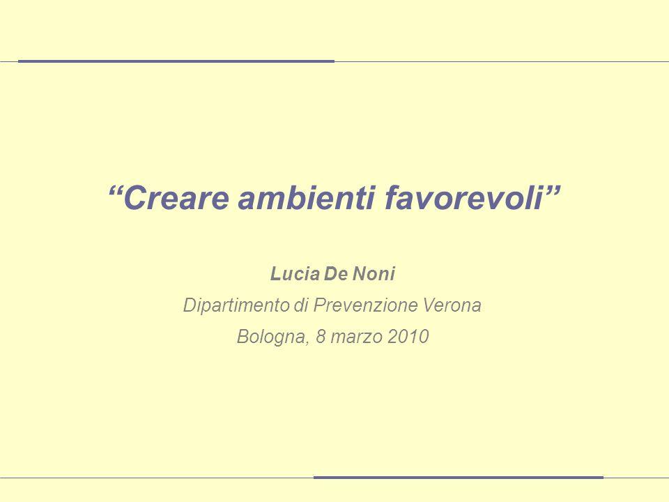 Creare ambienti favorevoli Lucia De Noni Dipartimento di Prevenzione Verona Bologna, 8 marzo 2010