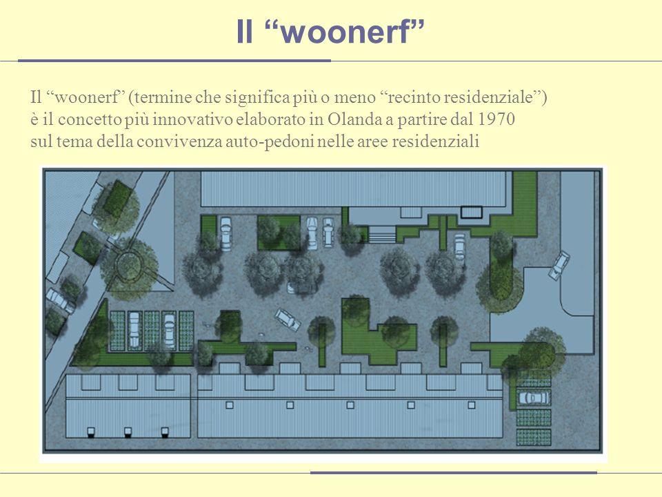 Il woonerf (termine che significa più o meno recinto residenziale) è il concetto più innovativo elaborato in Olanda a partire dal 1970 sul tema della convivenza auto-pedoni nelle aree residenziali Il woonerf
