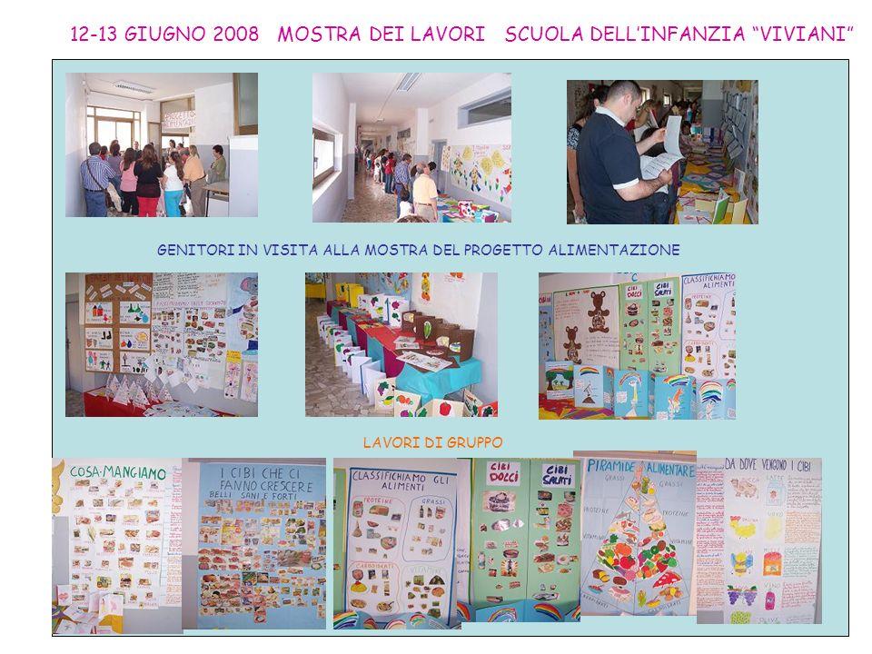 12-13 GIUGNO 2008 MOSTRA DEI LAVORI SCUOLA DELLINFANZIA VIVIANI GENITORI IN VISITA ALLA MOSTRA DEL PROGETTO ALIMENTAZIONE LAVORI DI GRUPPO