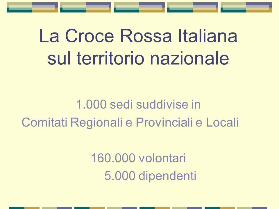 La Croce Rossa Italiana sul territorio nazionale 1.000 sedi suddivise in Comitati Regionali e Provinciali e Locali 160.000 volontari 5.000 dipendenti