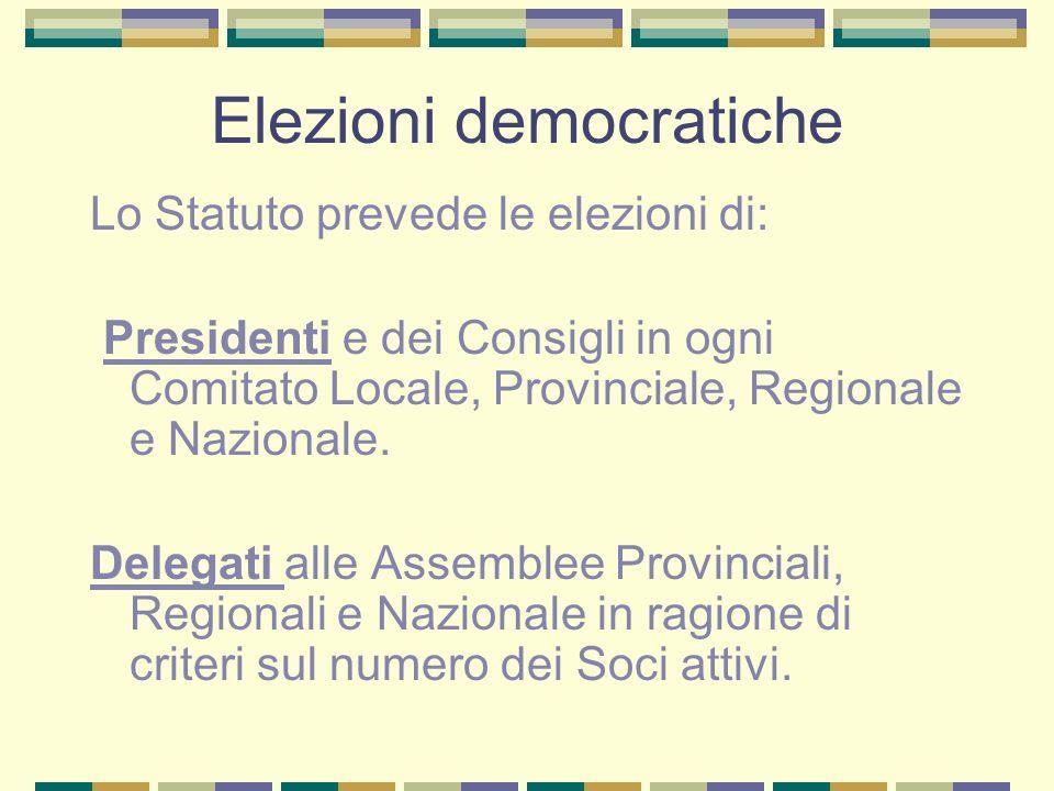 Elezioni democratiche Lo Statuto prevede le elezioni di: Presidenti e dei Consigli in ogni Comitato Locale, Provinciale, Regionale e Nazionale. Delega