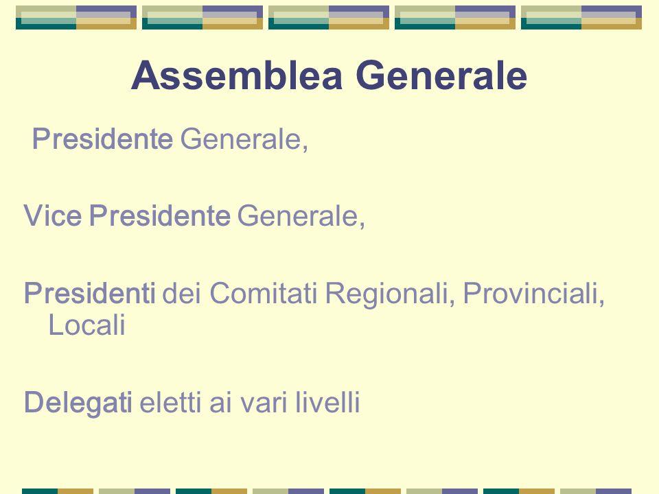 Assemblea Generale Presidente Generale, Vice Presidente Generale, Presidenti dei Comitati Regionali, Provinciali, Locali Delegati eletti ai vari livelli