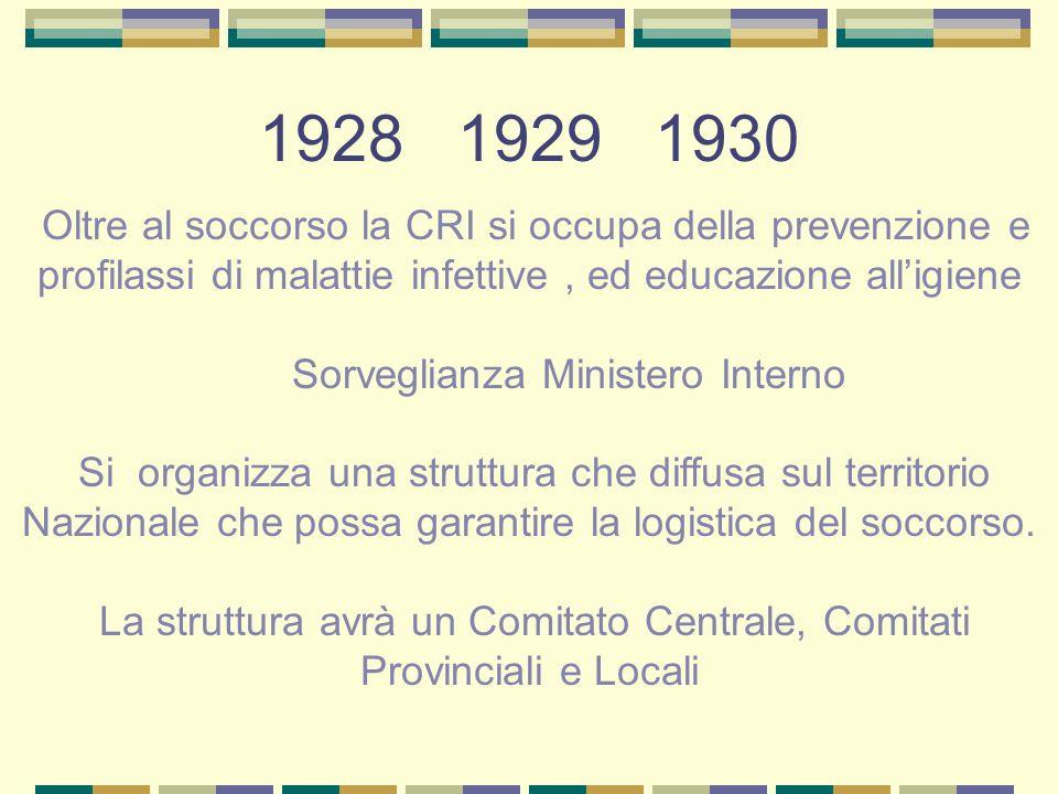 1928 1929 1930 Oltre al soccorso la CRI si occupa della prevenzione e profilassi di malattie infettive, ed educazione alligiene Sorveglianza Ministero
