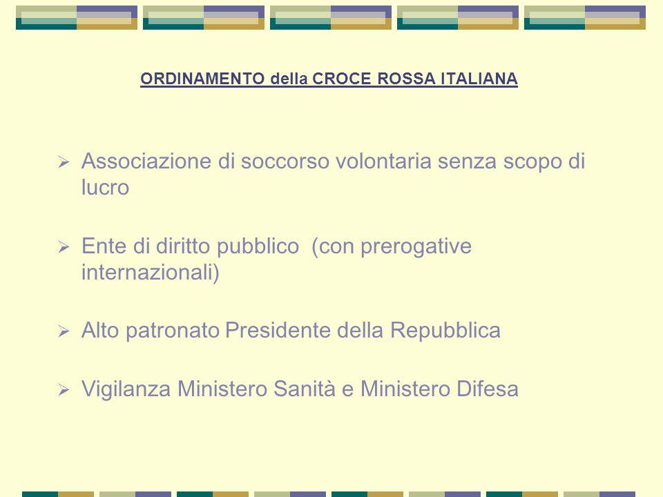 ORDINAMENTO della CROCE ROSSA ITALIANA Associazione di soccorso volontaria senza scopo di lucro Ente di diritto pubblico (con prerogative internaziona