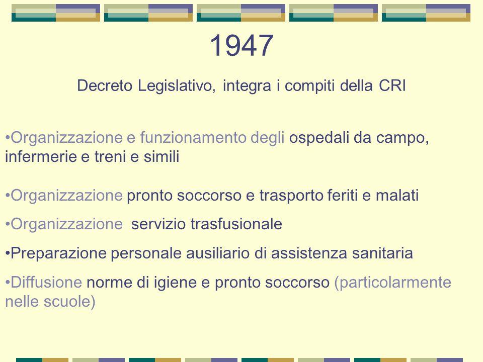 1947 Decreto Legislativo, integra i compiti della CRI Organizzazione e funzionamento degli ospedali da campo, infermerie e treni e simili Organizzazio