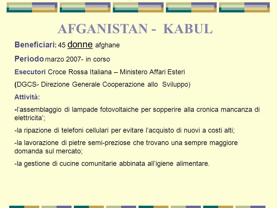 Afghanistan 23 Beneficiari : 45 donne afghane Periodo marzo 2007- in corso Esecutori Croce Rossa Italiana – Ministero Affari Esteri (DGCS- Direzione G