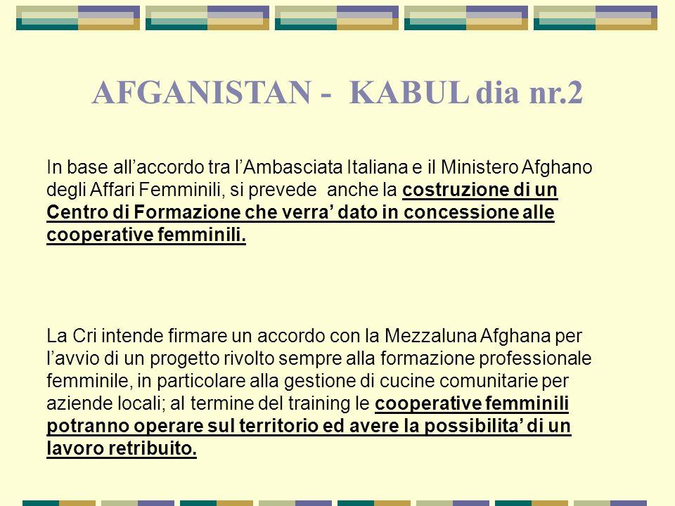 In base allaccordo tra lAmbasciata Italiana e il Ministero Afghano degli Affari Femminili, si prevede anche la costruzione di un Centro di Formazione che verra dato in concessione alle cooperative femminili.