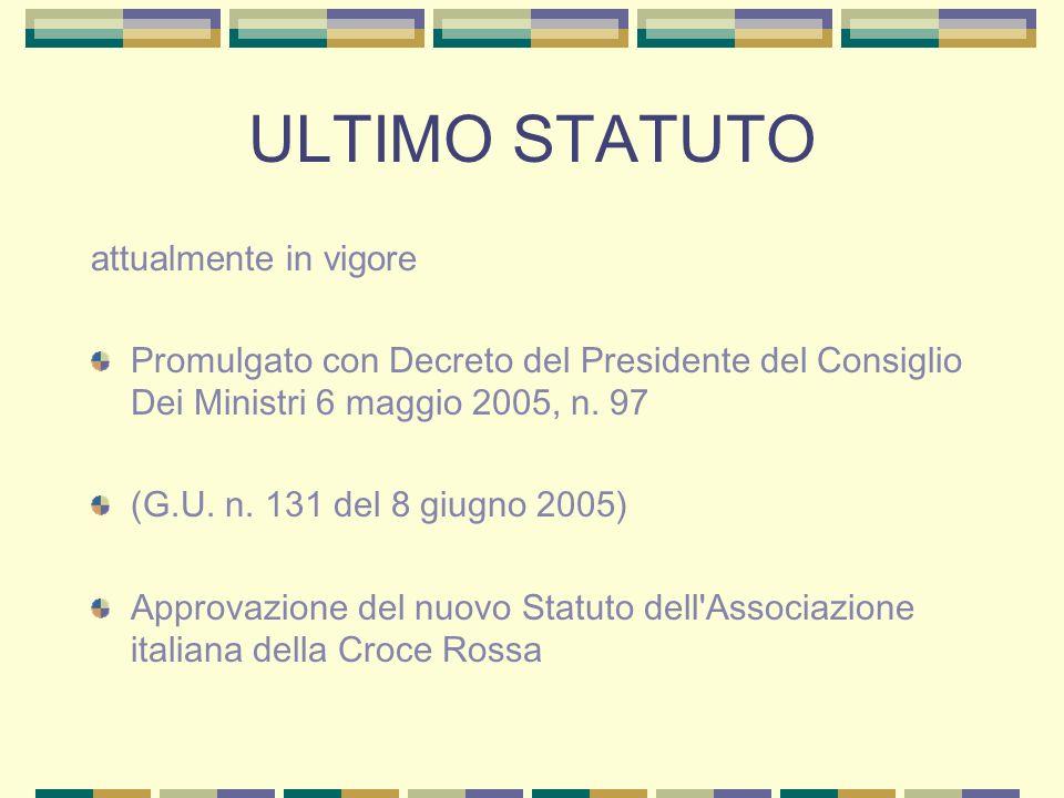 ULTIMO STATUTO attualmente in vigore Promulgato con Decreto del Presidente del Consiglio Dei Ministri 6 maggio 2005, n.