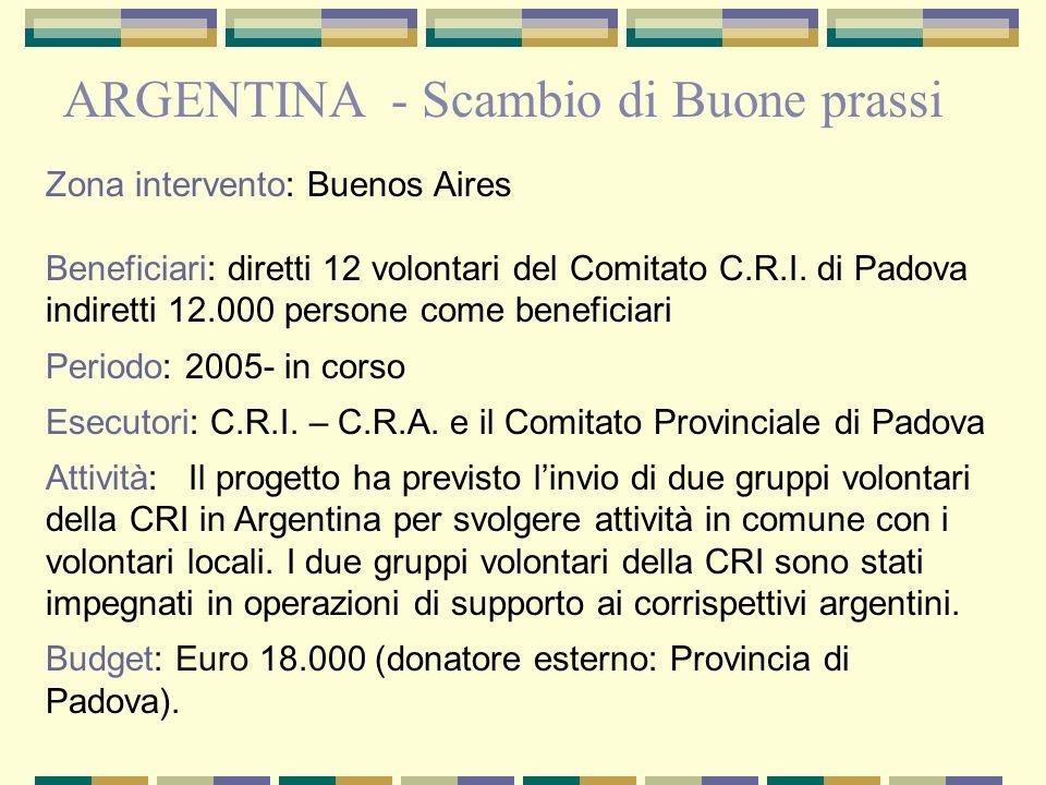 Zona intervento: Buenos Aires Beneficiari: diretti 12 volontari del Comitato C.R.I. di Padova indiretti 12.000 persone come beneficiari Periodo: 2005-