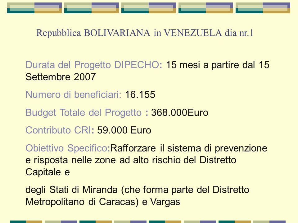 Durata del Progetto DIPECHO: 15 mesi a partire dal 15 Settembre 2007 Numero di beneficiari: 16.155 Budget Totale del Progetto : 368.000Euro Contributo CRI: 59.000 Euro Obiettivo Specifico:Rafforzare il sistema di prevenzione e risposta nelle zone ad alto rischio del Distretto Capitale e degli Stati di Miranda (che forma parte del Distretto Metropolitano di Caracas) e Vargas Repubblica BOLIVARIANA in VENEZUELA dia nr.1