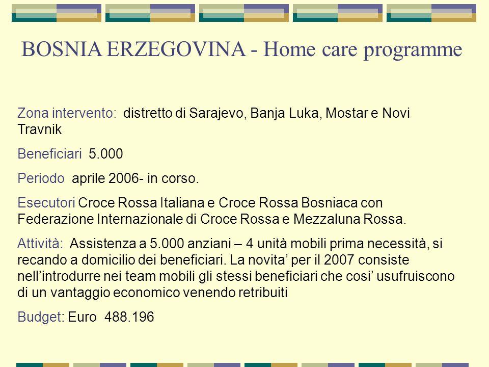 Zona intervento: distretto di Sarajevo, Banja Luka, Mostar e Novi Travnik Beneficiari 5.000 Periodo aprile 2006- in corso. Esecutori Croce Rossa Itali