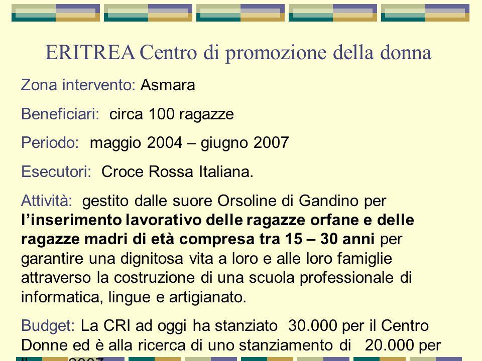 ERITREA Centro di promozione della donna Zona intervento: Asmara Beneficiari: circa 100 ragazze Periodo: maggio 2004 – giugno 2007 Esecutori: Croce Rossa Italiana.