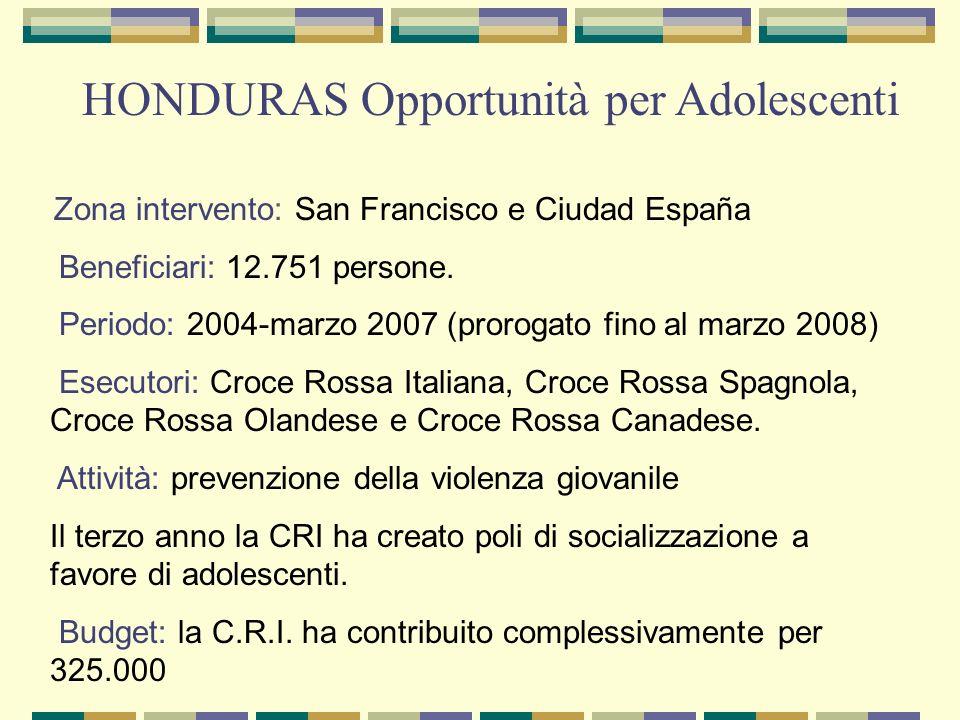 Zona intervento: San Francisco e Ciudad España Beneficiari: 12.751 persone. Periodo: 2004-marzo 2007 (prorogato fino al marzo 2008) Esecutori: Croce R
