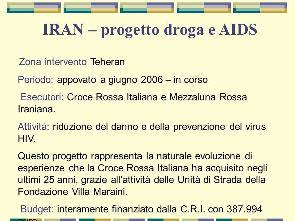 Zona intervento Teheran Periodo: appovato a giugno 2006 – in corso Esecutori: Croce Rossa Italiana e Mezzaluna Rossa Iraniana. Attività: riduzione del