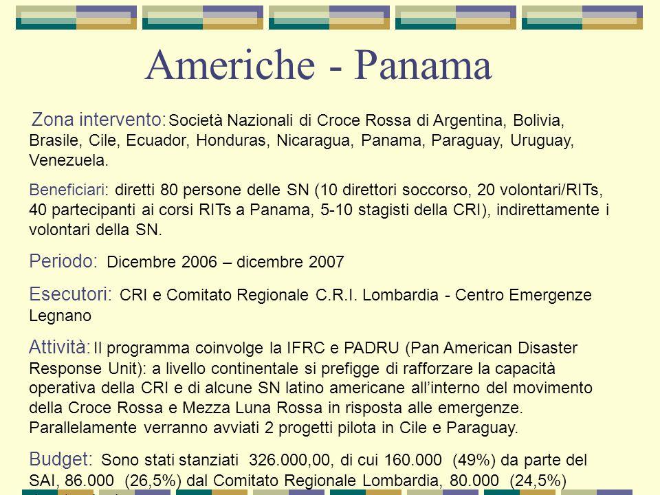 Zona intervento: Società Nazionali di Croce Rossa di Argentina, Bolivia, Brasile, Cile, Ecuador, Honduras, Nicaragua, Panama, Paraguay, Uruguay, Venezuela.