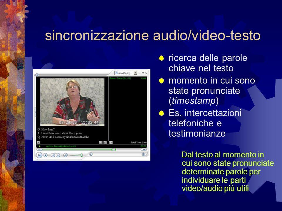 sincronizzazione audio/video-testo ricerca delle parole chiave nel testo momento in cui sono state pronunciate (timestamp) Es. intercettazioni telefon