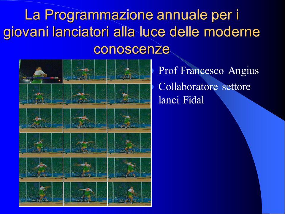 La Programmazione annuale per i giovani lanciatori alla luce delle moderne conoscenze Prof Francesco Angius Collaboratore settore lanci Fidal