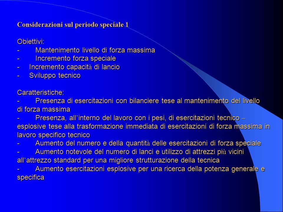 Considerazioni sul periodo speciale 1 Obiettivi: - Mantenimento livello di forza massima - Incremento forza speciale - Incremento capacit à di lancio
