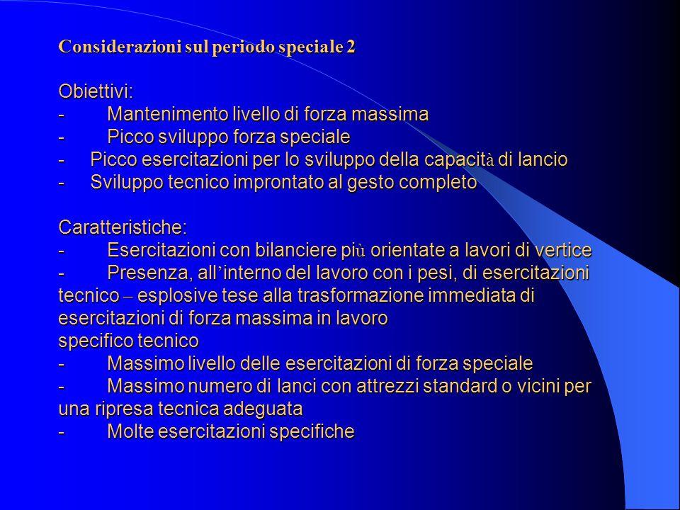 Considerazioni sul periodo speciale 2 Obiettivi: - Mantenimento livello di forza massima - Picco sviluppo forza speciale - Picco esercitazioni per lo