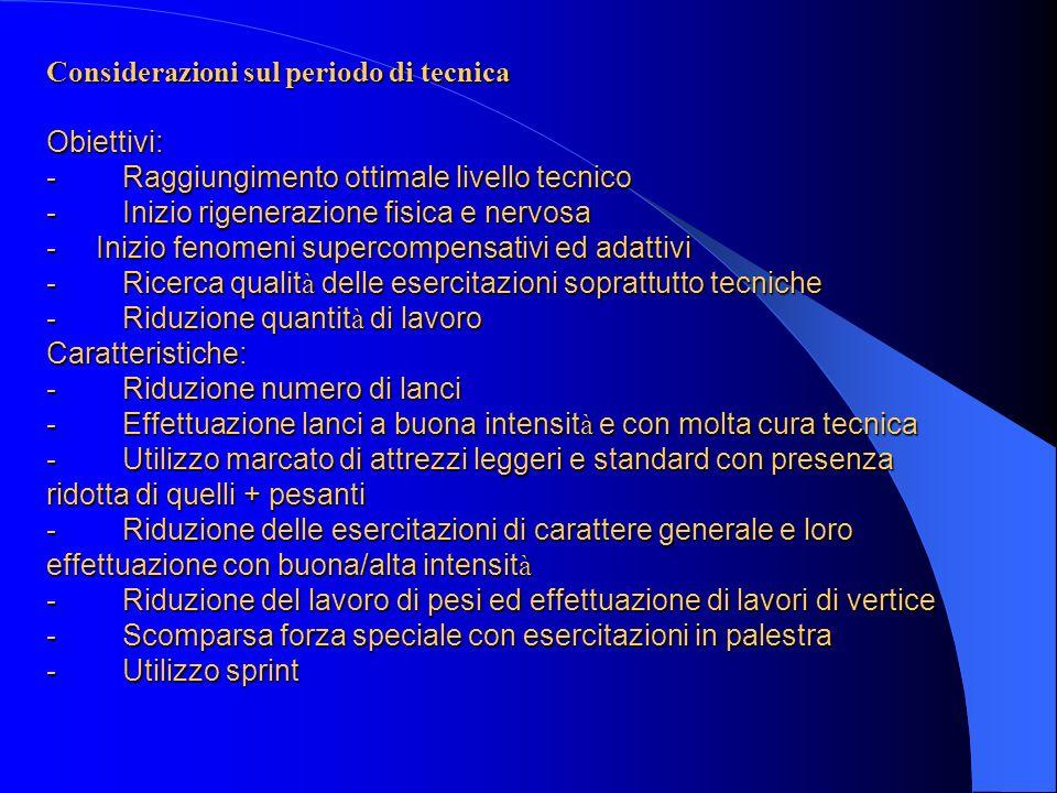 Considerazioni sul periodo di tecnica Obiettivi: - Raggiungimento ottimale livello tecnico - Inizio rigenerazione fisica e nervosa - Inizio fenomeni s