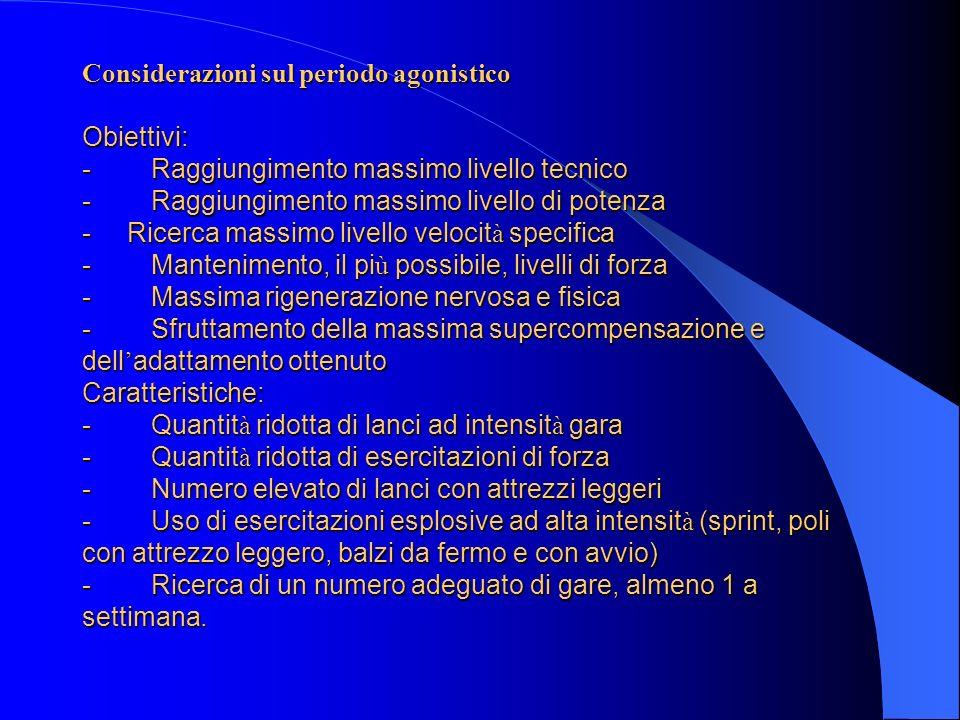 Considerazioni sul periodo agonistico Obiettivi: - Raggiungimento massimo livello tecnico - Raggiungimento massimo livello di potenza - Ricerca massim