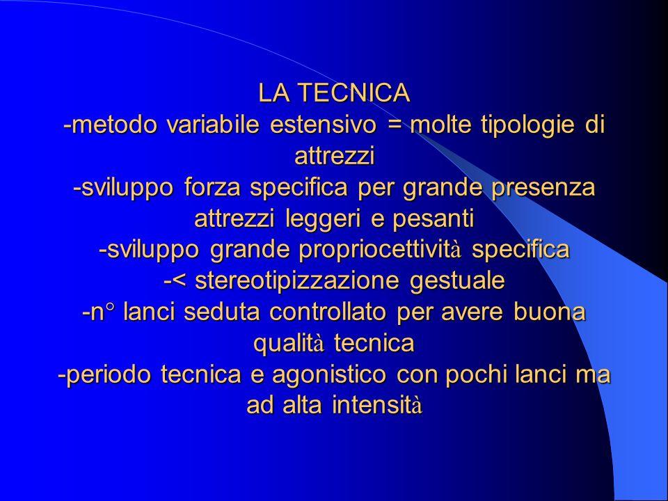 LA TECNICA -metodo variabile estensivo = molte tipologie di attrezzi -sviluppo forza specifica per grande presenza attrezzi leggeri e pesanti -svilupp
