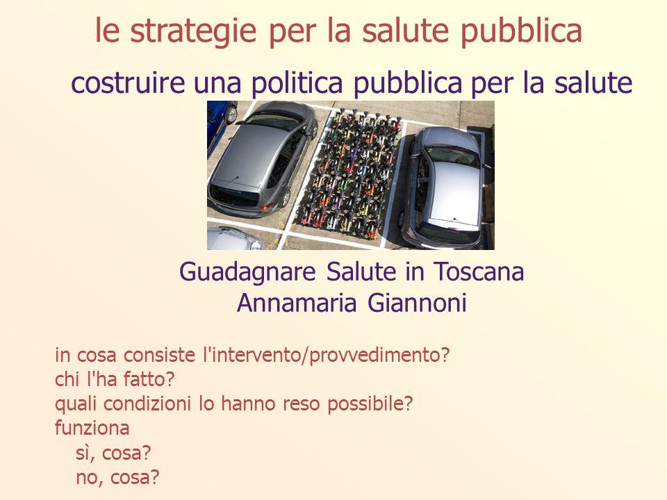 costruire una politica pubblica per la salute Guadagnare Salute in Toscana Annamaria Giannoni in cosa consiste l intervento/provvedimento.