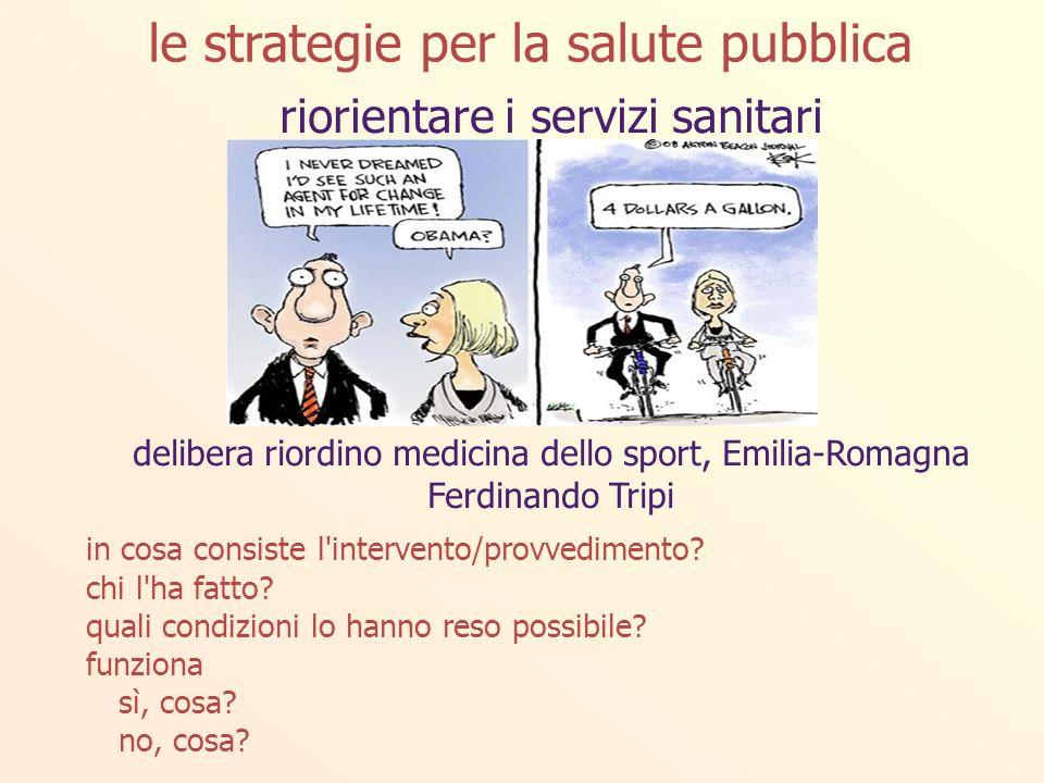 riorientare i servizi sanitari delibera riordino medicina dello sport, Emilia-Romagna Ferdinando Tripi in cosa consiste l intervento/provvedimento.