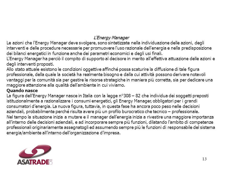 13 L'Energy Manager Le azioni che l'Energy Manager deve svolgere, sono sintetizzate nella individuazione delle azioni, degli interventi e delle proced