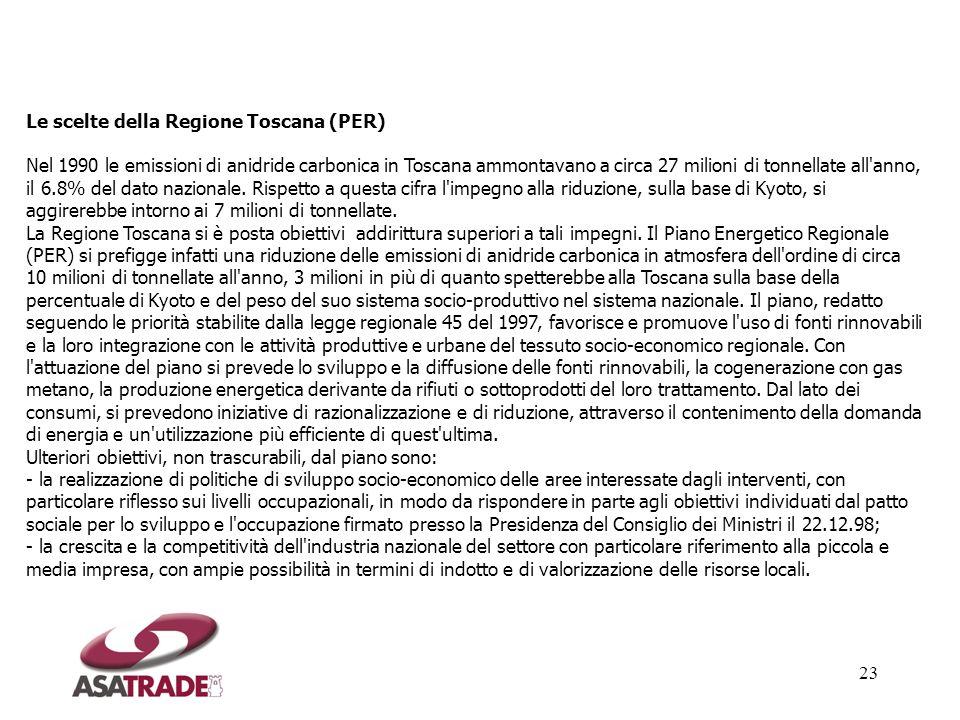 23 Le scelte della Regione Toscana (PER) Nel 1990 le emissioni di anidride carbonica in Toscana ammontavano a circa 27 milioni di tonnellate all'anno,