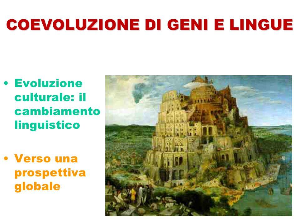 COEVOLUZIONE DI GENI E LINGUE Evoluzione culturale: il cambiamento linguistico Verso una prospettiva globale