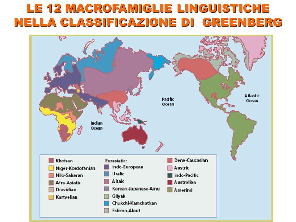 LE 12 MACROFAMIGLIE LINGUISTICHE NELLA CLASSIFICAZIONE DI GREENBERG