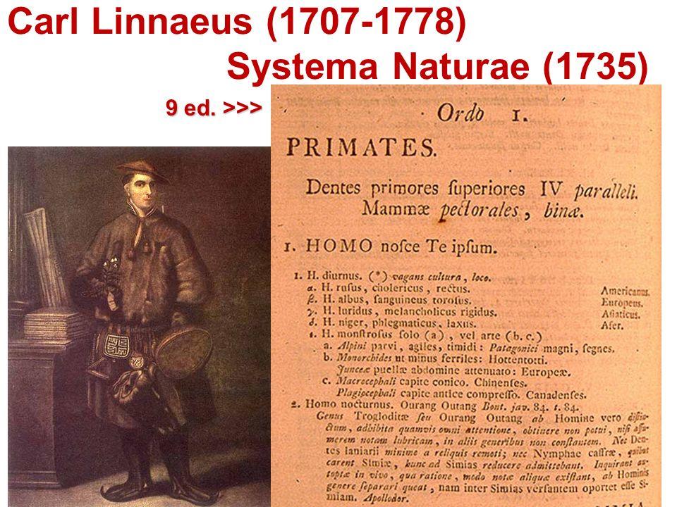Carl Linnaeus (1707-1778) Systema Naturae (1735) 9 ed. >>>