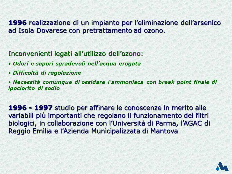 1996 realizzazione di un impianto per leliminazione dellarsenico ad Isola Dovarese con pretrattamento ad ozono.