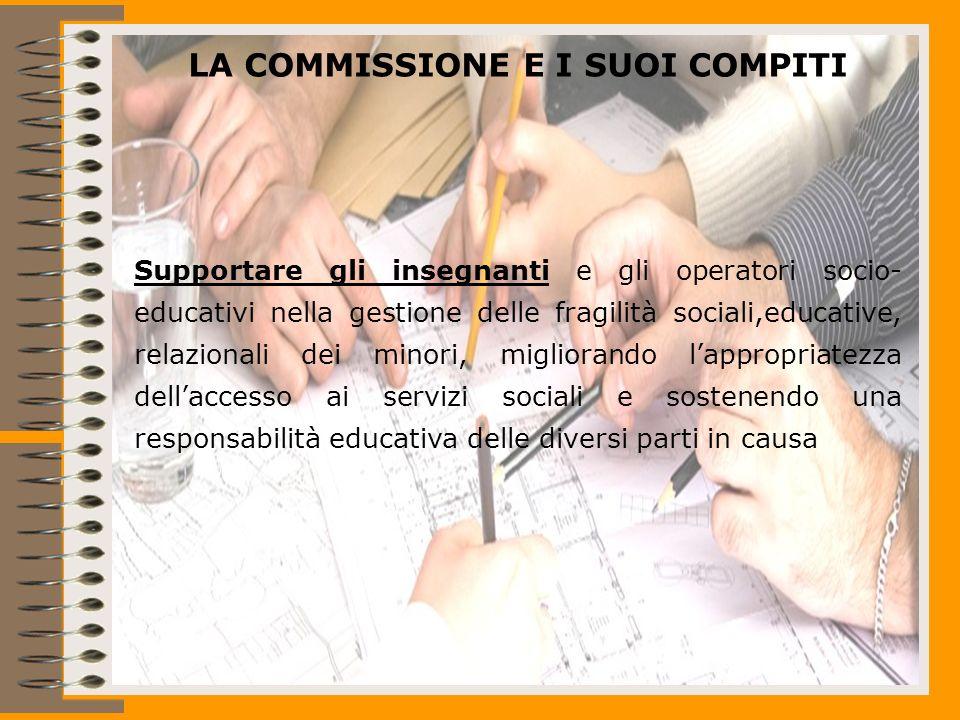 LA COMMISSIONE E I SUOI COMPITI Supportare gli insegnanti e gli operatori socio- educativi nella gestione delle fragilità sociali,educative, relazionali dei minori, migliorando lappropriatezza dellaccesso ai servizi sociali e sostenendo una responsabilità educativa delle diversi parti in causa