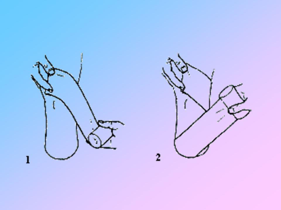 TRIANGOLO sulla fronte la parte centrale di uno dei bordi rinforzandolo con una piegatura si annodano dietro la nuca i rispettivi angoli il terzo angolo passando sotto il nodo, pende sulla nuca