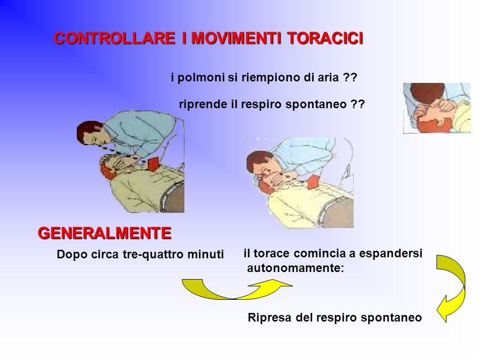 CONTROLLARE I MOVIMENTI TORACICI CONTROLLARE I MOVIMENTI TORACICI i polmoni si riempiono di aria ?? riprende il respiro spontaneo ?? GENERALMENTE Dopo