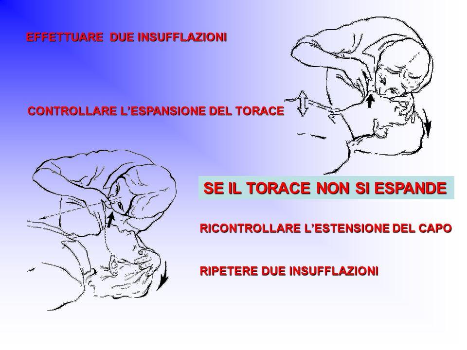 EFFETTUARE DUE INSUFFLAZIONI CONTROLLARE LESPANSIONE DEL TORACE RICONTROLLARE LESTENSIONE DEL CAPO RIPETERE DUE INSUFFLAZIONI SE IL TORACE NON SI ESPA