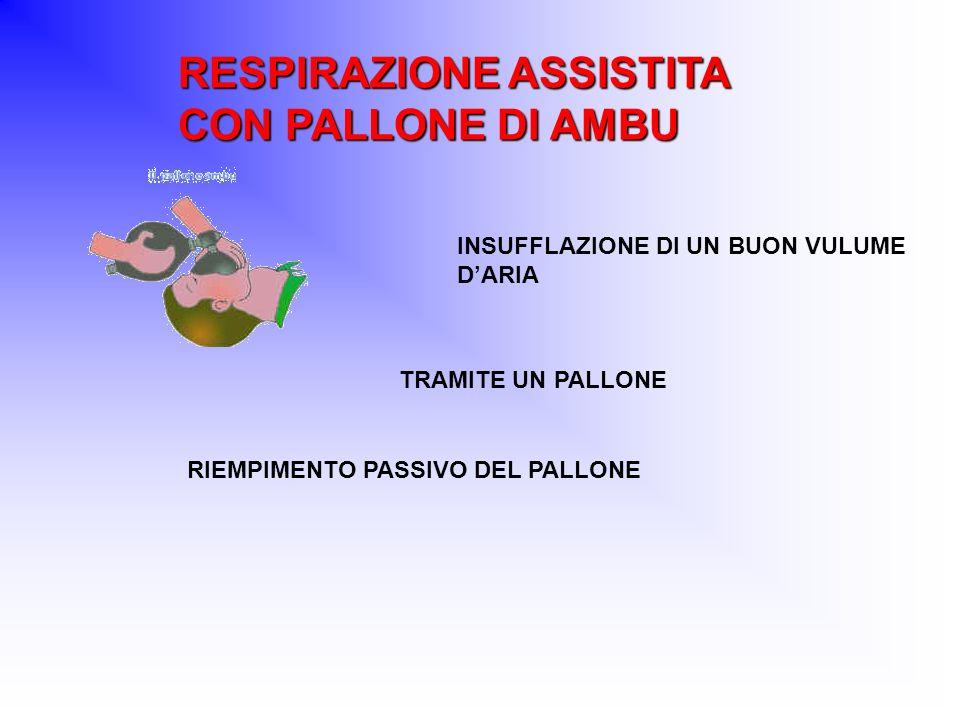 RESPIRAZIONE ASSISTITA CON PALLONE DI AMBU INSUFFLAZIONE DI UN BUON VULUME DARIA TRAMITE UN PALLONE RIEMPIMENTO PASSIVO DEL PALLONE
