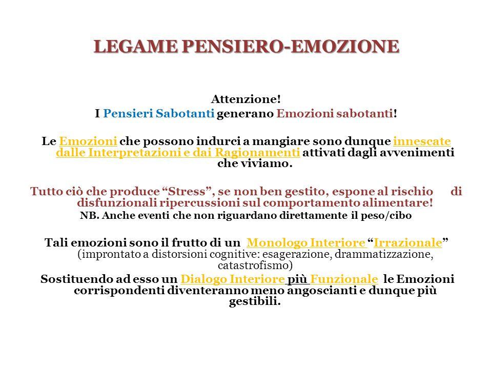 LEGAME PENSIERO-EMOZIONE Attenzione! I Pensieri Sabotanti generano Emozioni sabotanti! Le Emozioni che possono indurci a mangiare sono dunque innescat
