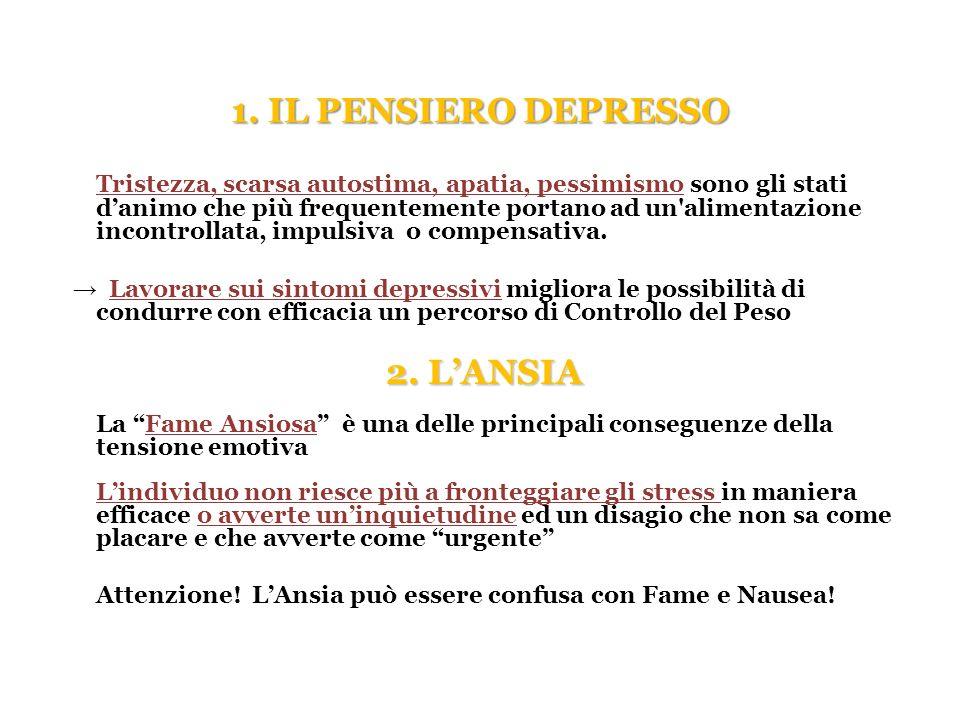 1. IL PENSIERO DEPRESSO Tristezza, scarsa autostima, apatia, pessimismo sono gli stati danimo che più frequentemente portano ad un'alimentazione incon