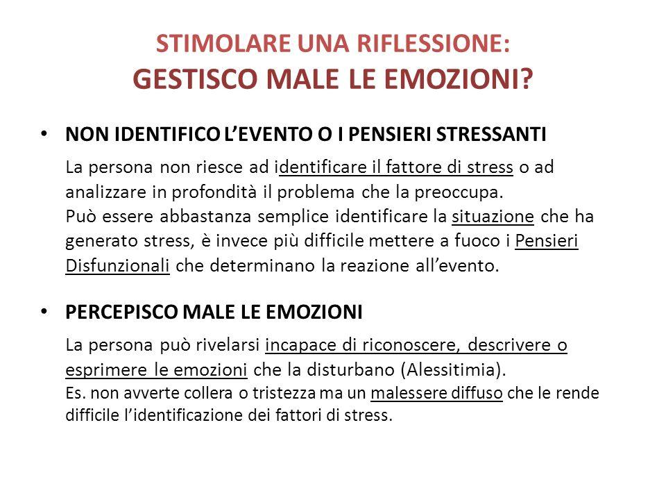 STIMOLARE UNA RIFLESSIONE: GESTISCO MALE LE EMOZIONI? NON IDENTIFICO LEVENTO O I PENSIERI STRESSANTI La persona non riesce ad identificare il fattore