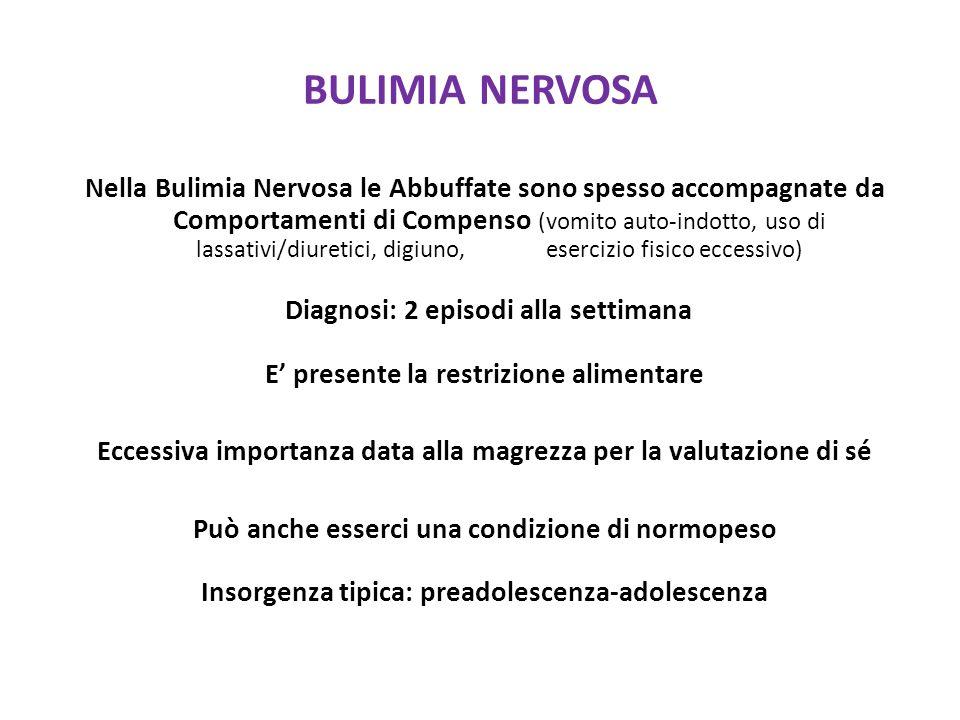 BULIMIA NERVOSA Nella Bulimia Nervosa le Abbuffate sono spesso accompagnate da Comportamenti di Compenso (vomito auto-indotto, uso di lassativi/diuretici, digiuno, esercizio fisico eccessivo) Diagnosi: 2 episodi alla settimana E presente la restrizione alimentare Eccessiva importanza data alla magrezza per la valutazione di sé Può anche esserci una condizione di normopeso Insorgenza tipica: preadolescenza-adolescenza