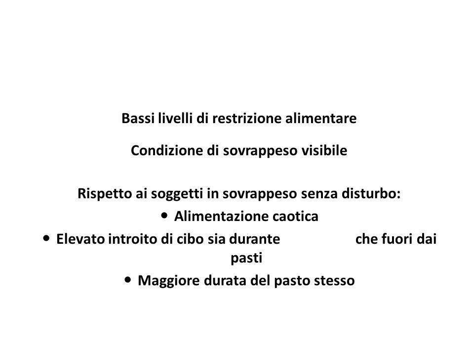 Bassi livelli di restrizione alimentare Condizione di sovrappeso visibile Rispetto ai soggetti in sovrappeso senza disturbo: Alimentazione caotica Ele
