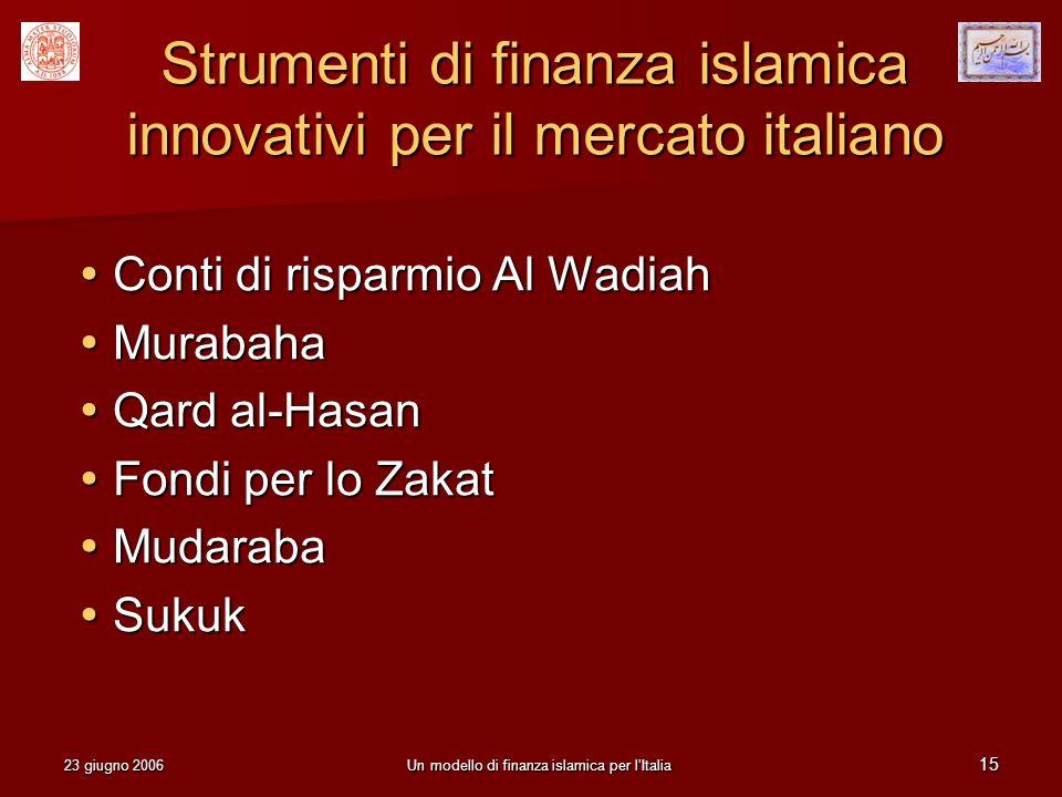 23 giugno 2006Un modello di finanza islamica per lItalia 15 Strumenti di finanza islamica innovativi per il mercato italiano Conti di risparmio Al Wad