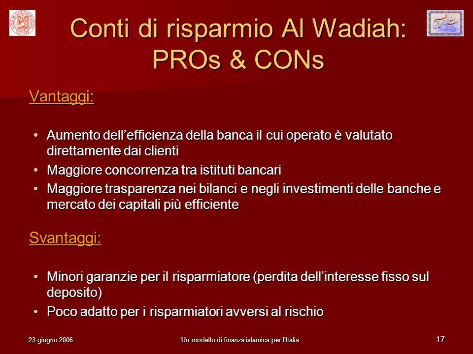 23 giugno 2006Un modello di finanza islamica per lItalia 17 Conti di risparmio Al Wadiah: PROs & CONs Vantaggi: Aumento dellefficienza della banca il